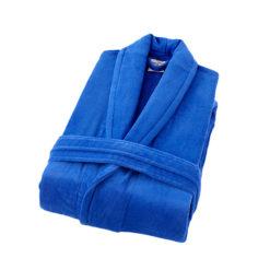 חלוק רחצה קטיפה מגבת 100% כותנה כחול רויאל