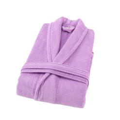 חלוק רחצה קטיפה מגבת 100% כותנה סגול לילך