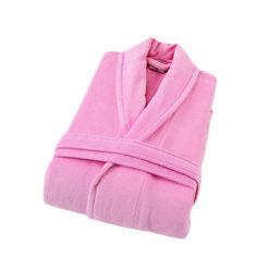 חלוק רחצה קטיפה מגבת 100% כותנה ורוד בייבי