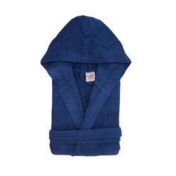 חלוק רחצה מגבת עם כובע כחול נייבי