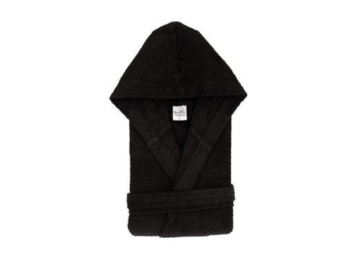 חלוק רחצה מגבת עם כובע שחור
