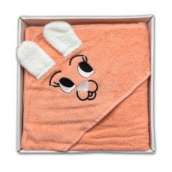 מגבת חיבוקי לתינוק עם קפוצ'ון אפרסק