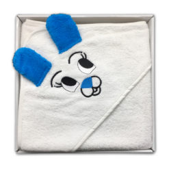 מגבת חיבוקי לתינוק עם קפוצ'ון לבן/כחול