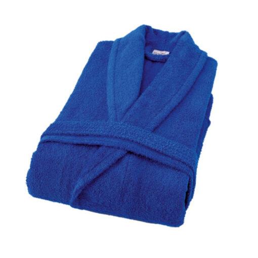 חלוק רחצה מגבת צווארון צרפתי כחול רויאל